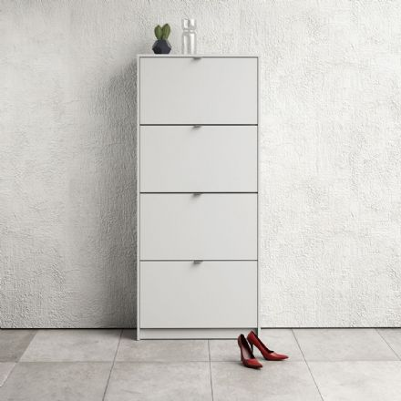 Shoes Shoe cabinet w. 4 tilting doors and 2 layers in White